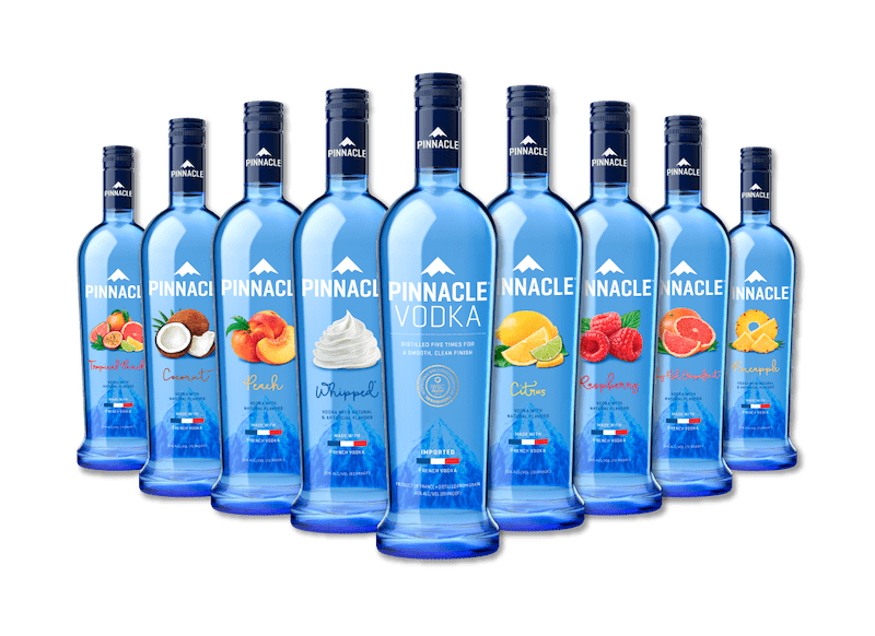 Pinnacle vodka bottle mockup of flavoured drinks