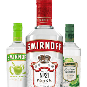 Classic Smirnoff Vodka bottles on white background
